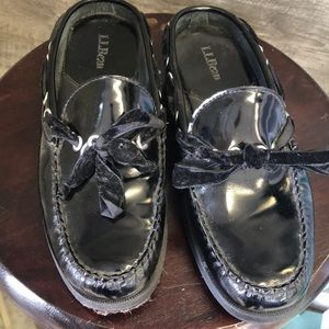 L.L. Bean patent leather loafers with velvet ties